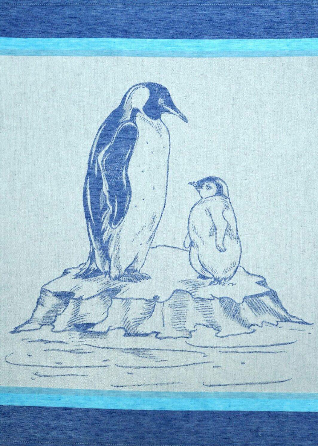Geschirrtuch Pinguin blau