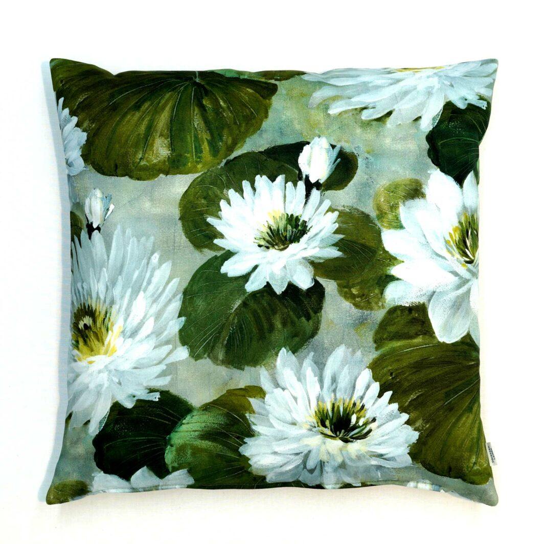 Kissenbezug Seerosen grün Baumwolle